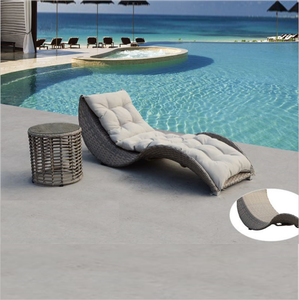 Outdoor Synthetic rattan sun loungers with side table, garden wicker sunbed, patio resin chaise /daybed