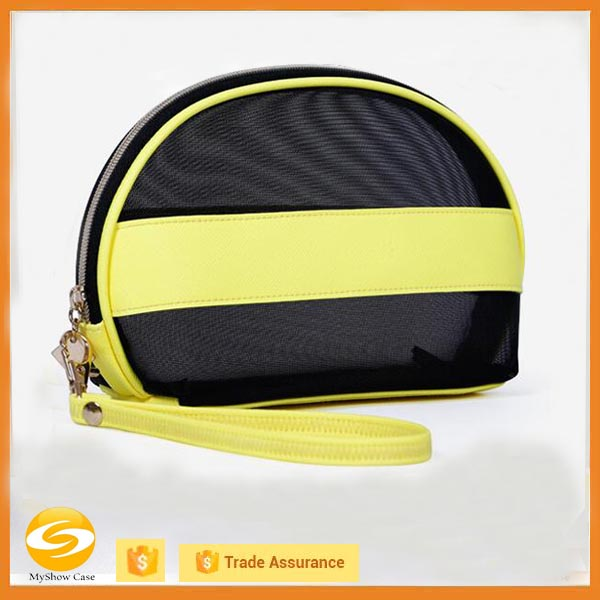 Clear handing Cosmetic Travel pouch Bag,gender transparent toiletry bag,yellow leather with clear vinyl travel cosmetic bag