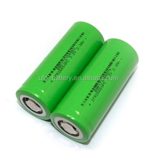 26650 3.2V 2300mAh Cylindrical LiFePO4 Li-ion Battery 3.0V 2.3Ah