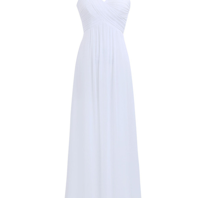 2017 Summer Women's Chiffon Long Bridesmaid Formal Dress Vestidos De Festa White Pleated Empire Party Dress Prom Gown