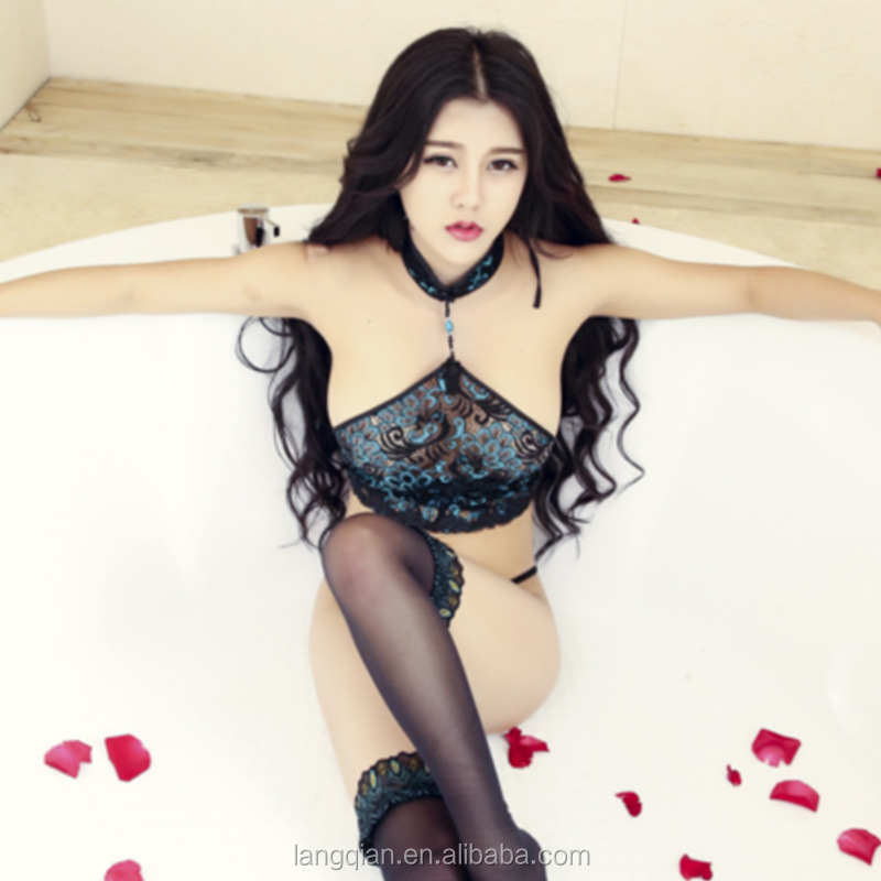 Japanese style embroidered peacock sexy bikini lingerie