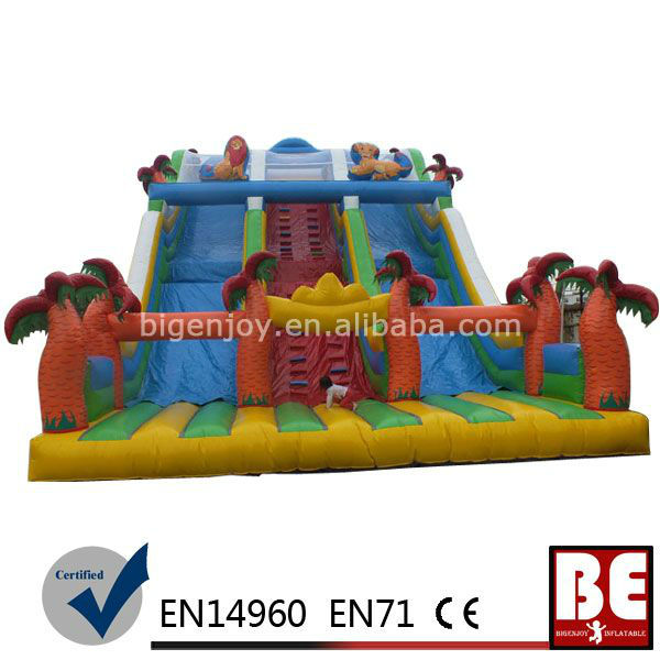Large Inflatable Jumping Slides With Palm Tree And Dual Slides