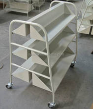 Library Furniture 3-tier Steel Double Sided Books Mobile Carts