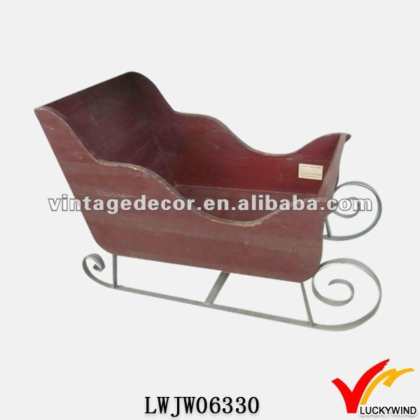 Distressed Handmade Decorative Wooden Christmas Sleigh
