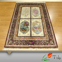 Persian Handmade Silk Rug Carpet Rug4'x6' Persian Hand Knotted Carpets For Prayer Use