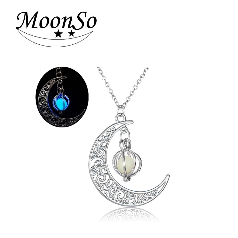 Luminous Pearl alloy Moon Halloween Pumpkin pendant luminous necklace Christmas gift for unisex Moonso Ax5008