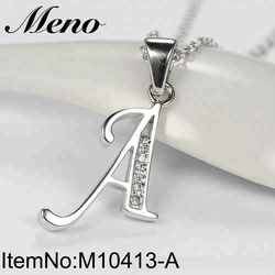 Meno new classic AAA CZ rhodium plated charms pendant letter A-Z for women letter A