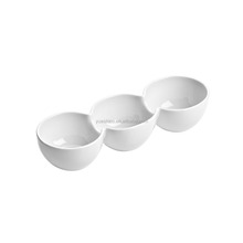 White Porcelain 3 Section Snack Dish