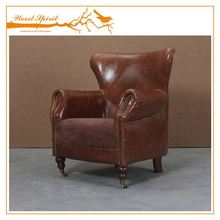 China professional supplier carved-wood leather sofa