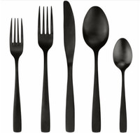 Inventory black cutlery, stock gold flatware matte, coating spoon fork sets