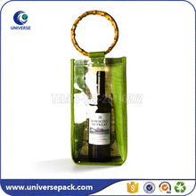 Single bottle customized jute bag for wine with window