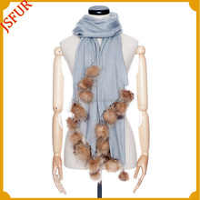 2014 New style mink fur pom poms wool knitted scarf