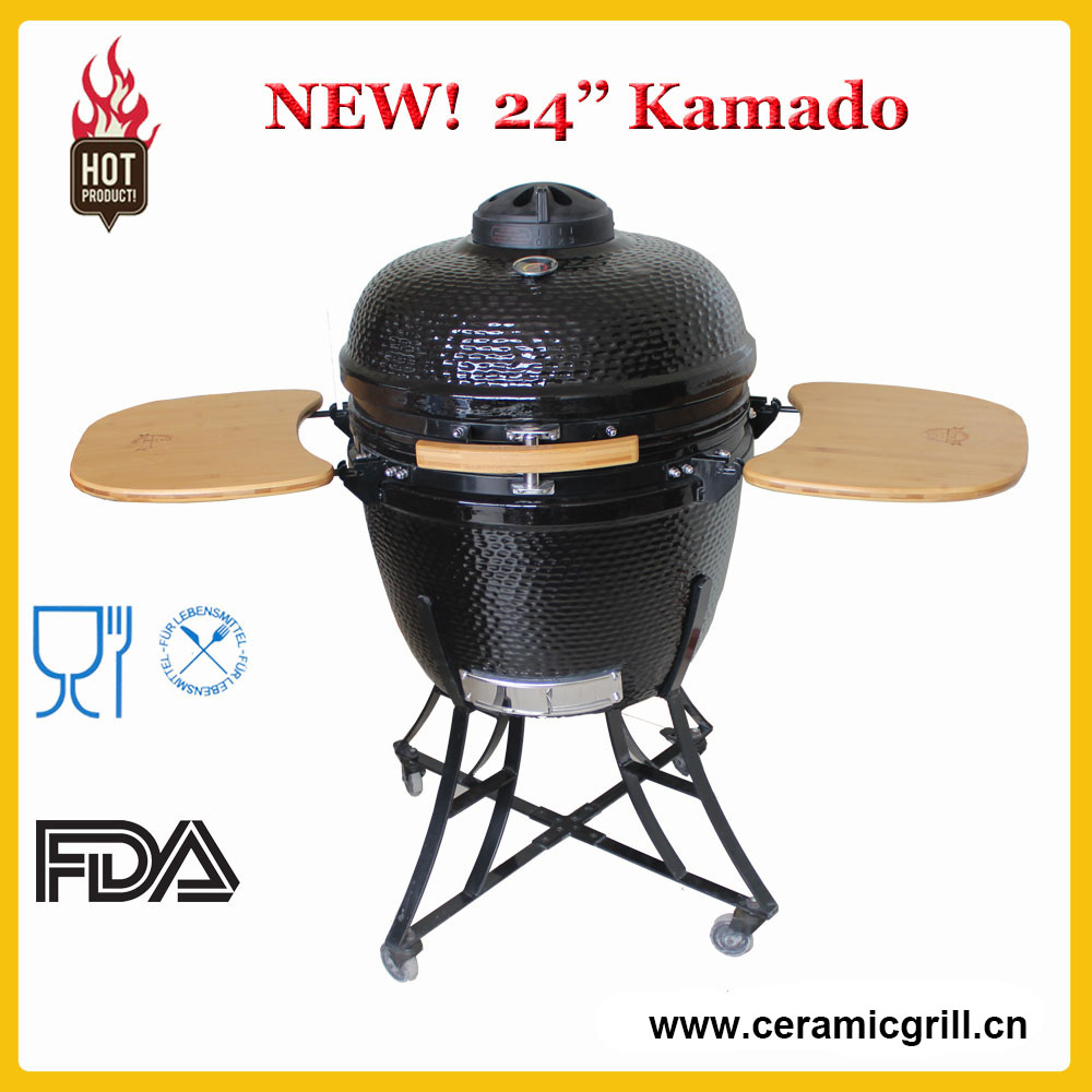 "Outdoor and Camping Wooden Kitchen 24"" Egg Kamado Ceramic Tandoor Oven"