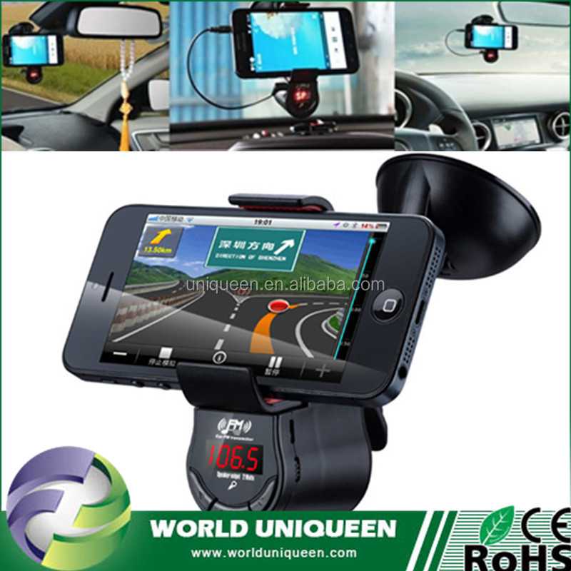 FM09 Multifunction FM Transmitter MP3 Audio Player USB Charger Handsfree Car Kit with Mobile Phone GPS Car Suction Holder Mount