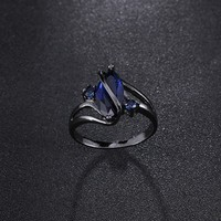 10KT Black Gold The horse eye black gold ring fashion crystal ring
