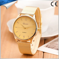 Gold watch Full stainless steel woman fashion dress watches men brand name Geneva quartz watch best quality GW015