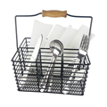 Black Metal Picnic Caddy Basket Carry All Serveware Utensil Cutlery Caddy Condiment Napkin With 4 Divided Compartment