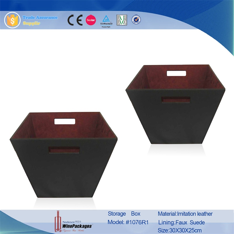 Guangzhou hotel supplies single layer black leather room waste bin, decorative trash can cover