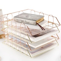 550-97D Office & Home Supplies Metal Rose Gold Stackable file Tray Document Letter Organizer