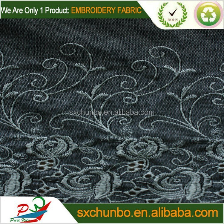 Fancy eyelet flower 100%cotton voile border embroidery fabric for fashion garment
