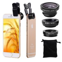 Glass Lens Set 3 in 1 Mobile Phone Lens Kit Fish Eye Wide Angle Super Macro Lens for Smartphone