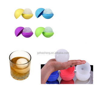 Ice mold silicone ball shaped ice cube tray logo printed
