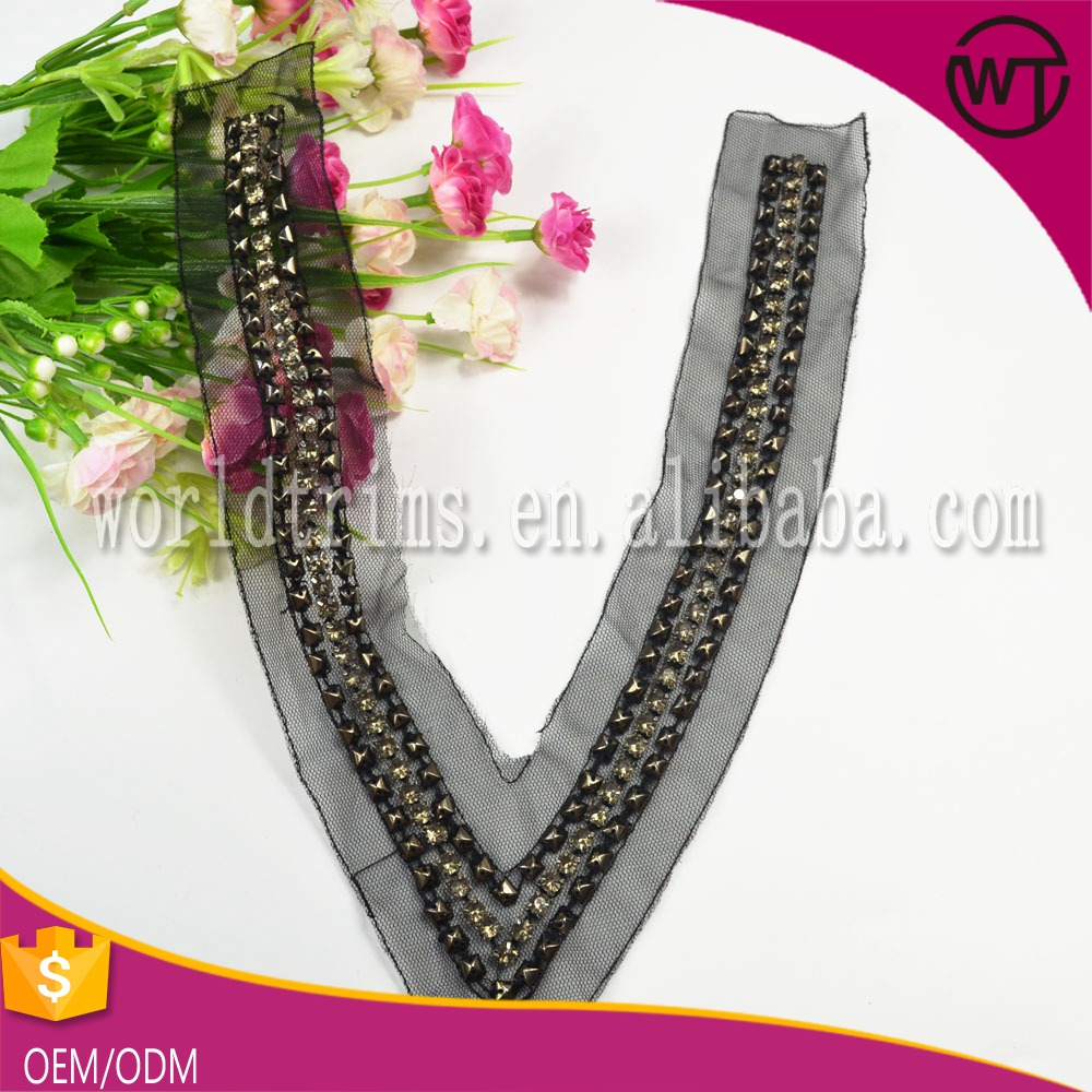 Best selling beaded neck patterns for ladies dresses WTA322