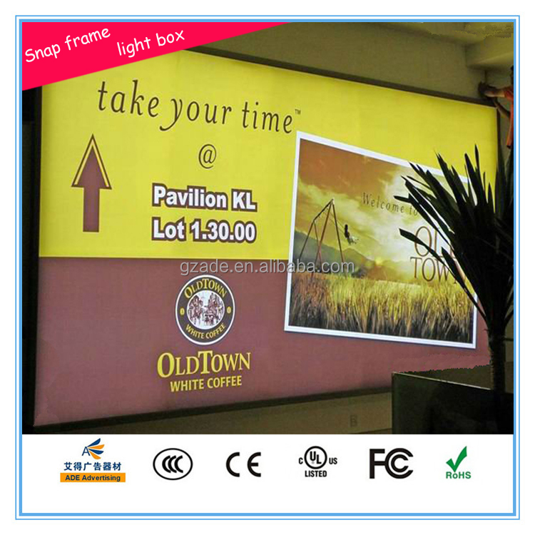 Hotel background backlit aluminum snap frame big size LED light box EEFL