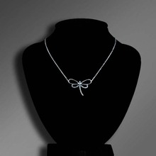 reasonable price chain link 925 sterling silver zircon dragonfly style necklace