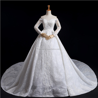 luxury Plus Size Long Sleeve off shoulder Lace wedding gown