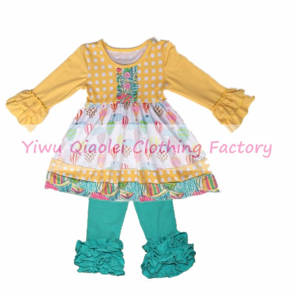 Christmas Fashion children girls clothing yellow long sleeve top dress loose floral pants kids brand clothes