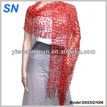 Sparklingly Red Sequin Shawl for Women