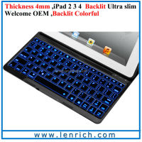 LBK186 Ultra Kee F4S New Backlit Aluminum Bluetooth Keyboard Case For iPad4 New Wireless Bluetooth Keyboard With Back Light