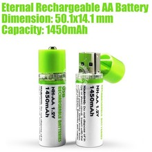 Eternal Rechargeable AA Battery 1450mAh -Green Made in China
