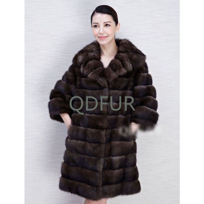 QD80635 Women Luxurious Polo Collar Long Design 3/4 Sleeves Russian Pelt Sable Coat