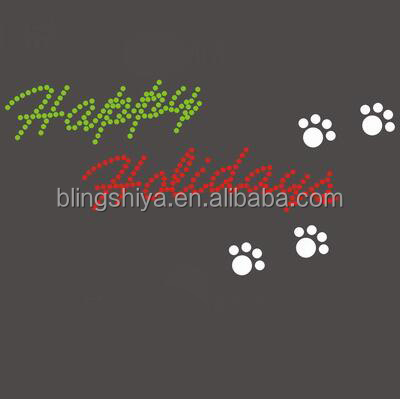 Happy Holiday With Pawprint Rhinestone Transfer Iron On Letter