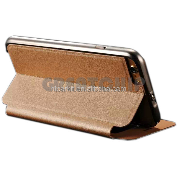 Electronics accessories Alu+Pu Leather full stand mobile phone Case for iphone6&6plus