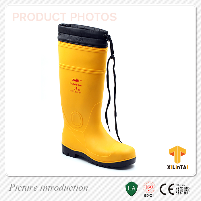 Yellow Winter Waterproof PVC Shoes Snow Warm Boots