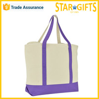 Fashion Eco Custom Cotton Canvas Foldable Shopping Tote Bag In Purple
