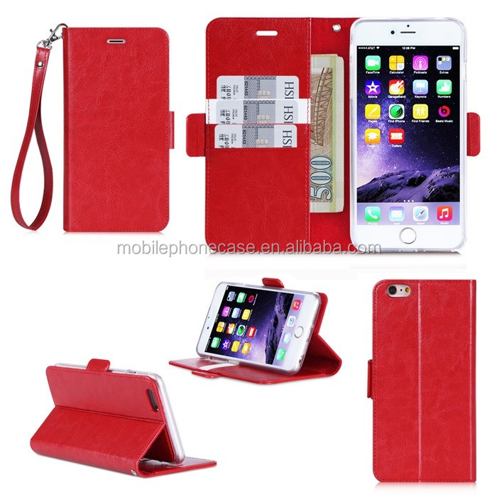 Made In China Factory Fashion Wallet Strap Design Flip PU Case For Iphone 6 plus