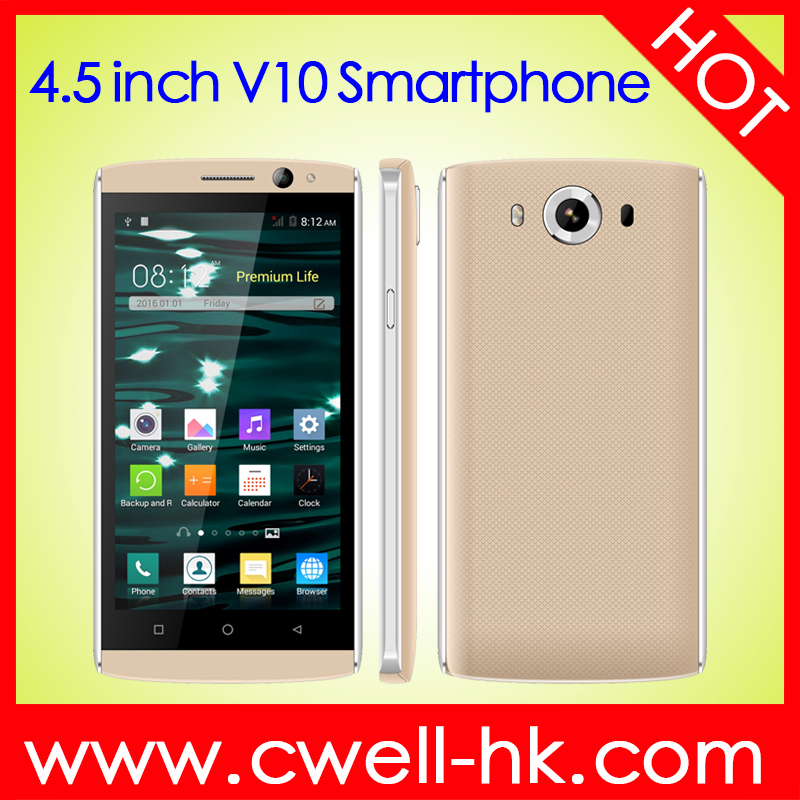 4.5 Inch Touch Screen Dual SIM card Android 4.4 CNC Metal Frame WIFI GPS Ultra slim smart phone android Alps V10