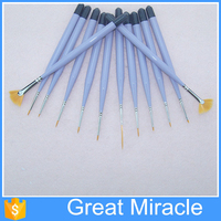 Quality multifunctional nylon hair 12pcs acrylic kids paint brushes