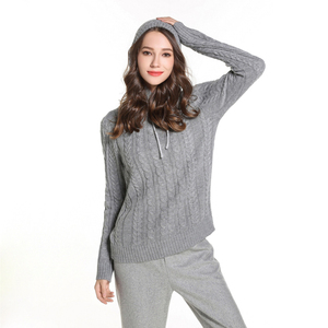 Pullover Cable Knit Hoody Sweater For Ladies