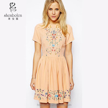 M40645 assorted mini peasant embroided dresses yellow with embroidery pattern design dresses wholesale