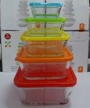 Set of 5 pcs glass salad bowl with colorful plastic lid