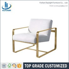 Upholstered brass gold stainless steel sofa modern arm chair
