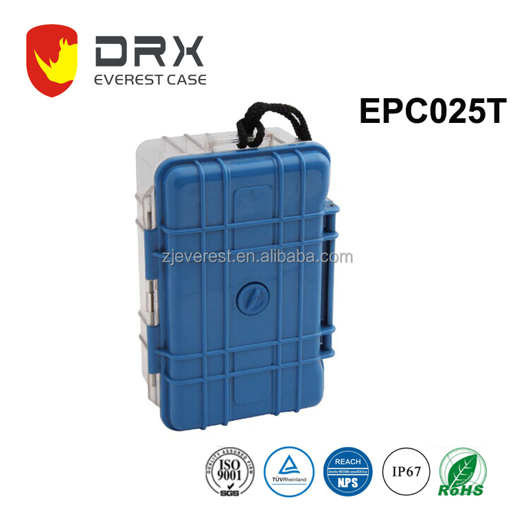 EPC025T Small plastic transparent cover hard watch case watertight case plastic carrying case