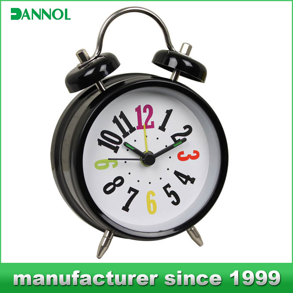 plastic small alarm table clock quiet analog clock