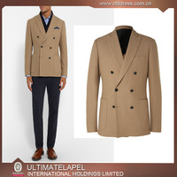 New stylish double breasted 6 buttons 2 piece coat pant men suit two patch pockets
