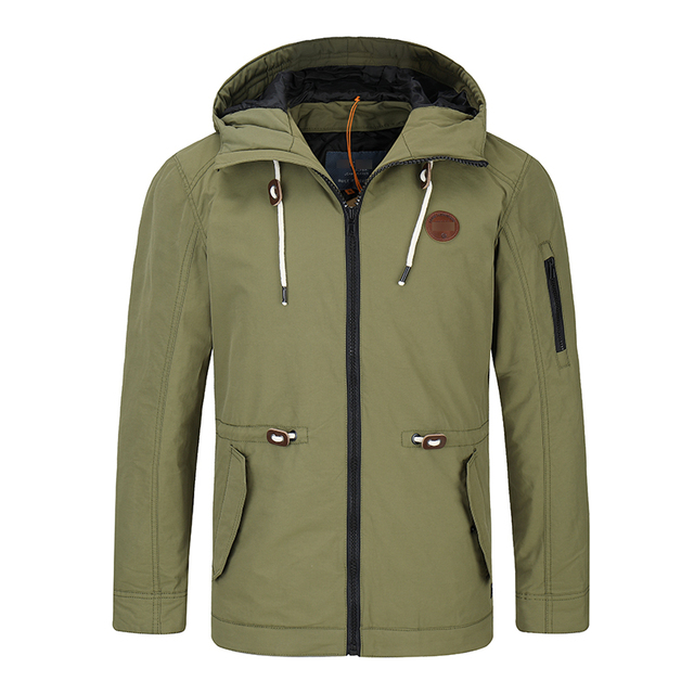 Woven Fabric Men's Army Green Hoodie Jacket